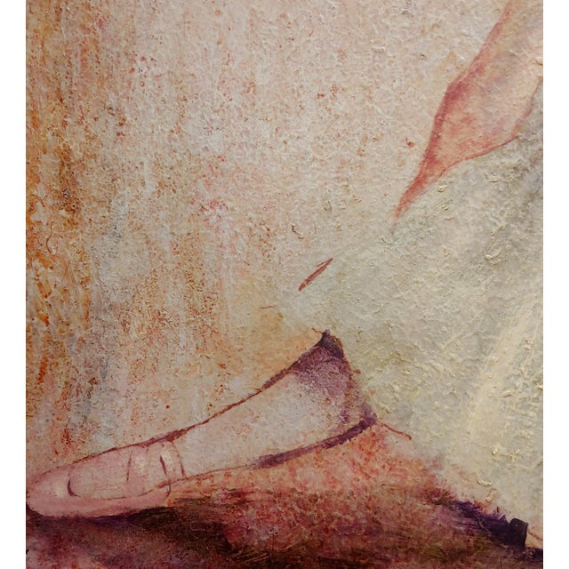 1950s Female Dancer Stretching - Oil Painting For Sale - Image 5 of 9