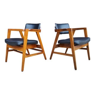 Mid-Century Modern Solid Walnut Chairs Made by Gunlocke - a Pair For Sale