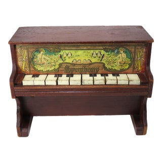 Cute Antique Childs Doll Size Piano Toy For Sale