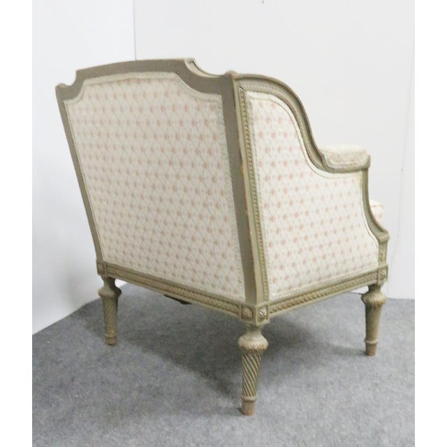 Louis XIV Paint Distressed Bergere Chair For Sale - Image 4 of 8