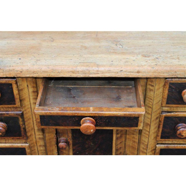 19th C. Original Painted Multi Drawer Credenza / Apothecary For Sale In Los Angeles - Image 6 of 13