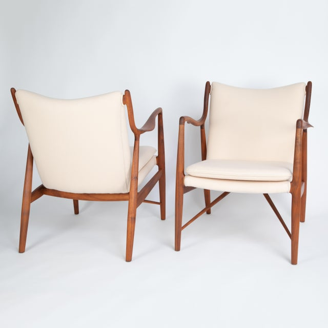 "Baker Furniture Company Pair of Finn Juhl ""45"" Chairs for Baker Furniture, Circa 1960s For Sale - Image 4 of 13"