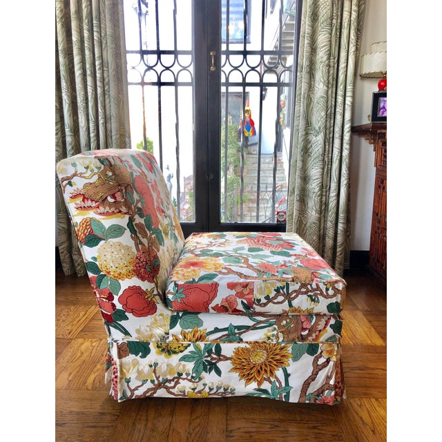 Hollywood Regency Floral Slipper Chairs - A Pair For Sale - Image 3 of 9
