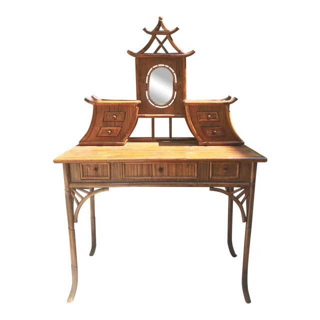 Vintage Bamboo Pagoda Vanity Table For Sale