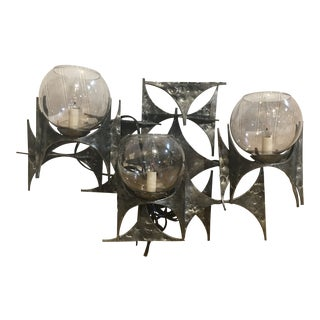 1960s Brutalist Wall Sconce With Glass Globes by Marc Weinstein For Sale