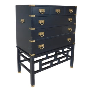 "Permacraft by Sanford Furniture Black Lacquer Asian Style Chest 35""w X 43""h For Sale"