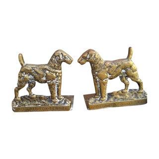 Brass Fox Terrier Book Ends