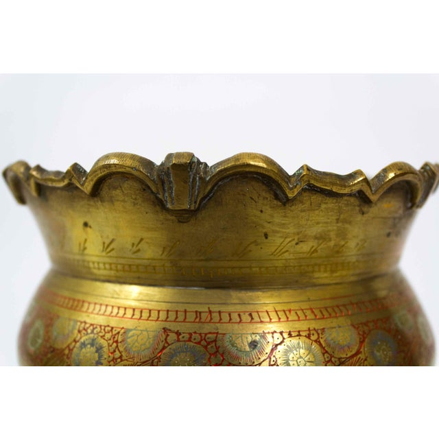 Brass Floral Etched Vase For Sale In Dallas - Image 6 of 7