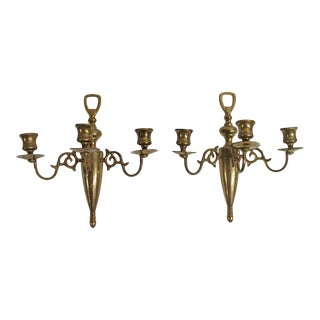 Pair of Traditional Bronze Candle Wall Sconces For Sale
