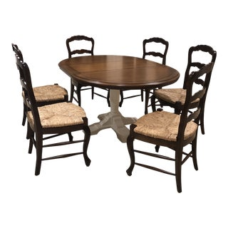 Fremarc Walnut Stain Dining Table & Rush Seat Chairs For Sale