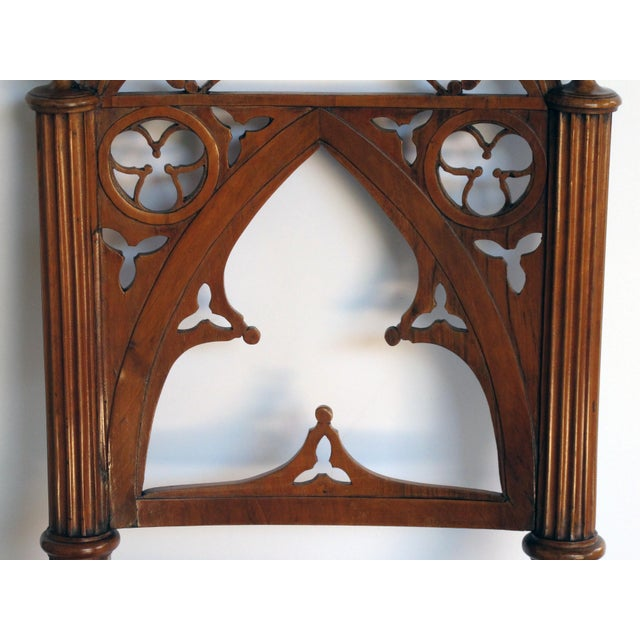 Late 19th Century A handsome and well-carved set of 4 continental gothic revival klismos-form walnut side chairs; possibly Austrian or German For Sale - Image 5 of 8
