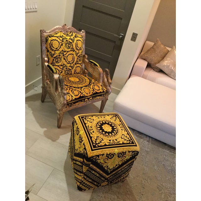 1960s Vintage Gianni Versace Black Gold Upholstery Throne Swan Chair For Sale - Image 12 of 13