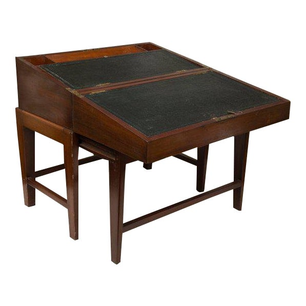 19th Century Mahogany Lap Desk on Later Stand For Sale