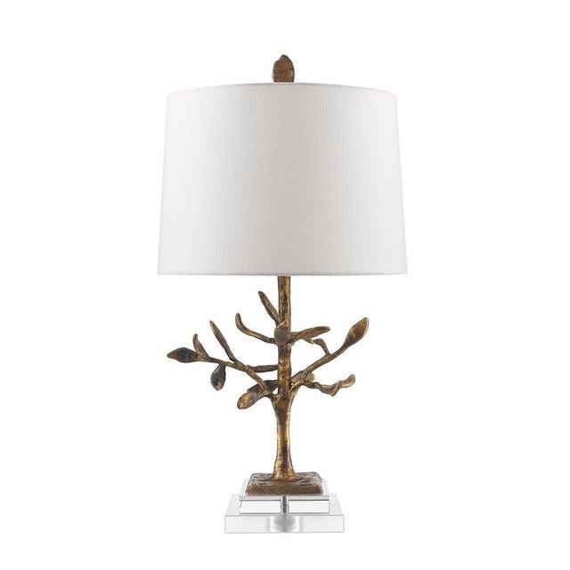 Contemporary Audubon Park Nature Form Gold Plaster Table Lamp For Sale - Image 3 of 8