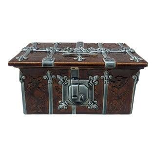 19th Century Majolica Jewel Box Choisy Le Roi For Sale