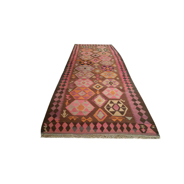 Vintage Traditional 14 Ft. Handmade Kilim Wide Runner Rug - 5′ × 14′5″ For Sale