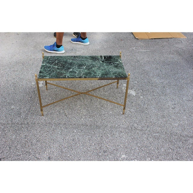 French art deco Maison Jansen Coffee Or Cocktail Table Bronze Rectangular With Green marble Top, and very nice bronze...