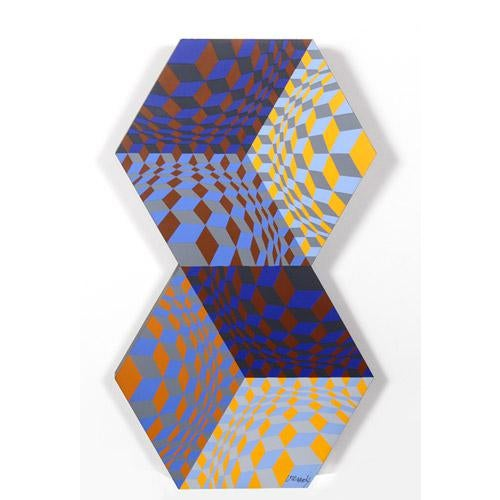 Abstract Victor Vasarely, Kettes, 1988 For Sale - Image 3 of 6