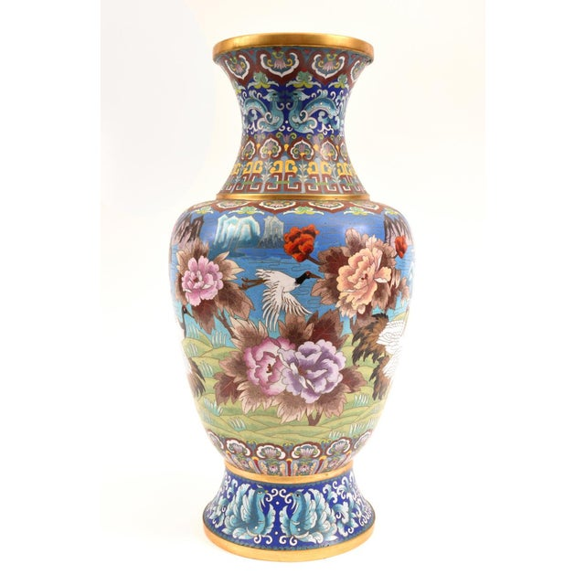 Brass Large Decorative Cloisonné With Blossom Flowers Vase For Sale - Image 7 of 13