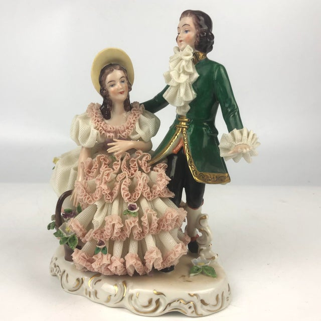 Vintage Dresden Style Porcelain Couple Figurine For Sale In New York - Image 6 of 6
