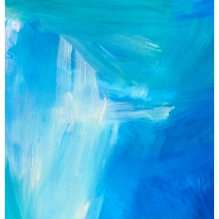 """""""Blue Tropics"""" by Trixie Pitts Abstract Color Field Oil Painting Preview"""