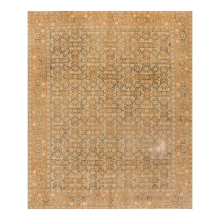 Antique Distressed Tan and Blue Silk Persian Tabriz Rug, 8.09x10.10 For Sale