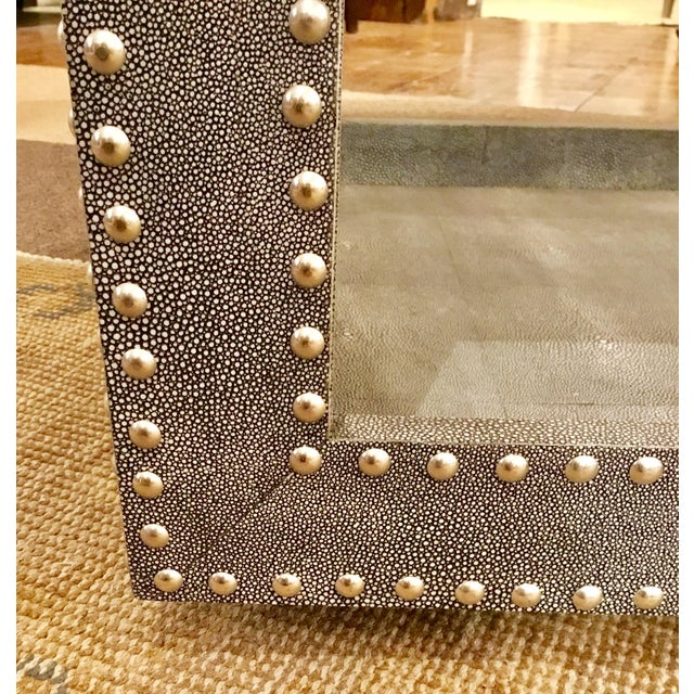 Regina Andrews Feaux Python Studded Accent Cube Table For Sale In Atlanta - Image 6 of 9