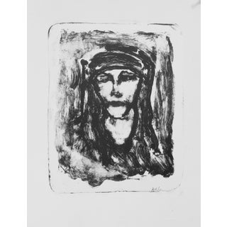 """""""Abstract Woman"""" Contemporary Figurative Black and White Lithograph For Sale"""
