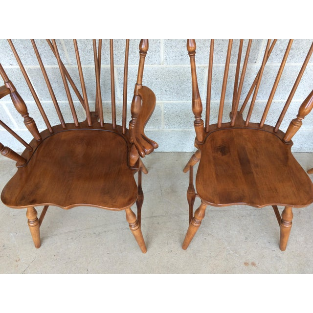 Mid-Century Modern Tell City Maple Windsor Brace Back Dining Chairs - Set of 6 For Sale - Image 3 of 11