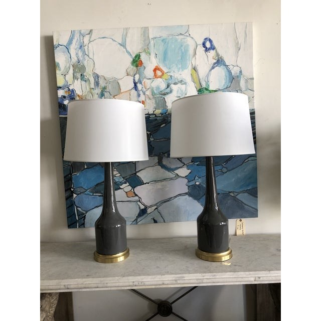 Fox Mill Co. Gray Ceramic Table Lamps with Shades - a Pair For Sale - Image 9 of 9