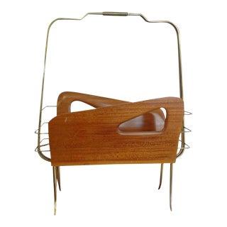 1950's Vintage Italian Gio Ponti Inspired Brass and Walnut Magazine Rack For Sale