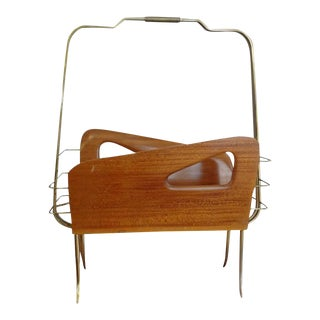 1950'Vintage Italian Gio Ponti Inspired Brass and Walnut Magazine Rack For Sale