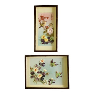 Vintage Japanese 3d Shell Art Shadow Boxes - Set of 2 For Sale