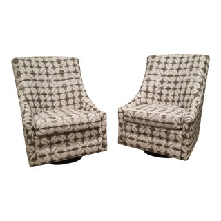 Gray and White Print Fabric Swivel Chairs - A Pair For Sale