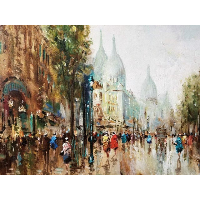 Late 20th Century Paris Montmarte Oil Painting on Canvas by Demone For Sale - Image 5 of 6