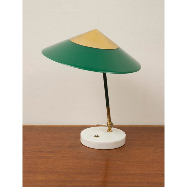 Adjustable table lamp by Stilux Milano in polished brass with marble base and green perspex shade. Italy, 1950s.
