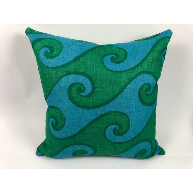 1960s Vintage Blue and Green Sea Scroll Pattern Pillows Hand Printed by Elenhank - a Pair For Sale - Image 5 of 12