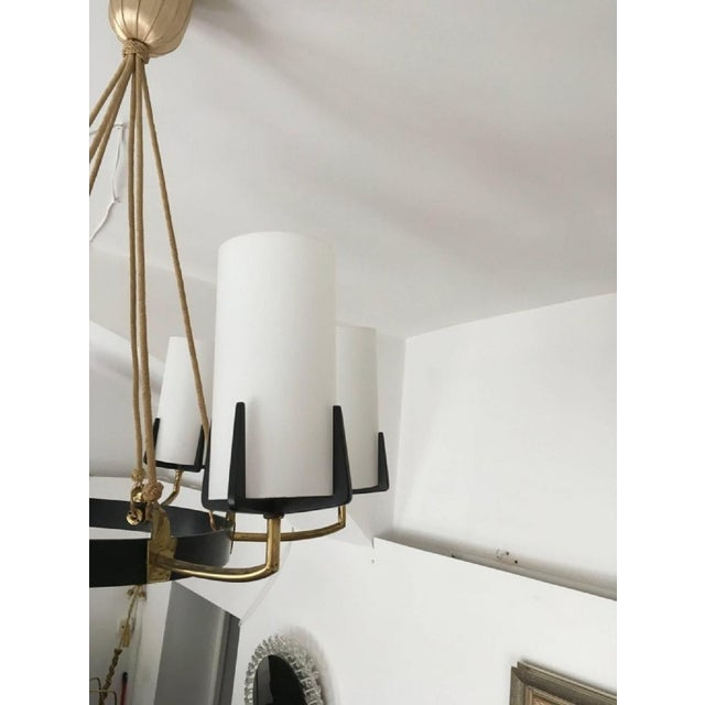 Large Mid-Century Brass & Opaline Chandelier by Rupert Nikoll For Sale - Image 6 of 11