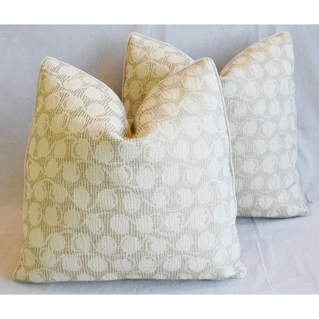 """Italian Embroidered Silk & Leather Feather/Down Pillows 21"""" Square - Pair For Sale - Image 13 of 13"""