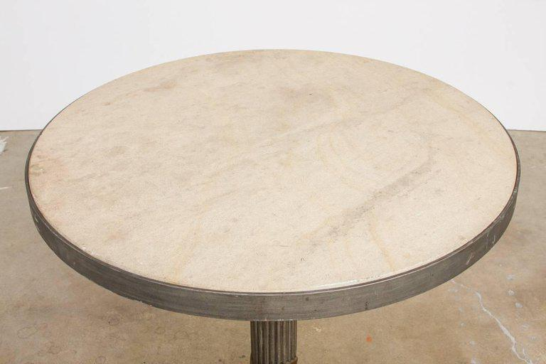 Late 20th Century Modern Iron And Travertine Limestone Centre Or Pub Table  For Sale   Image