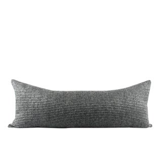 """Charcoal Gray Texture Wool Pillow 13"""" x 34"""" For Sale"""