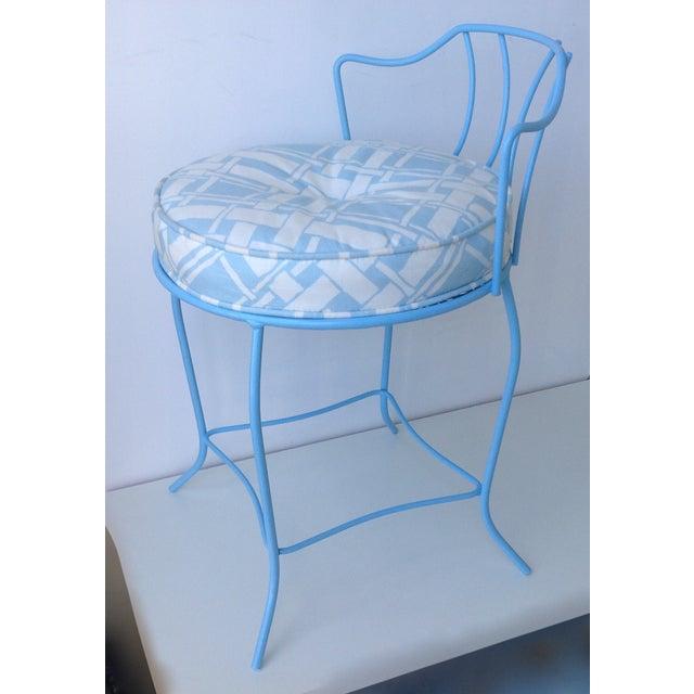 Mid-Century Blue Metal Vanity Stool For Sale - Image 4 of 11