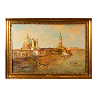 Oil Painting of Venice Harbor by T.L. Novaretti