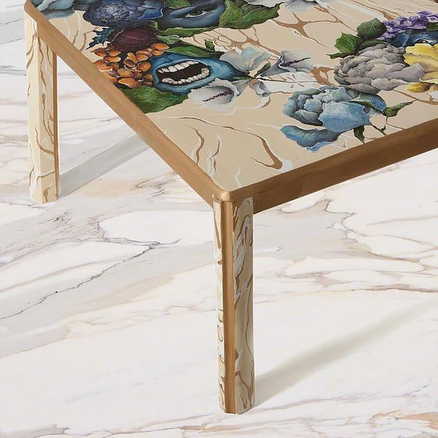 This stunningly wooden coffee table hand painted by Atelier MIRU is executed in pine wood, and is equipped with a 6mm...
