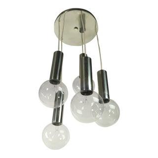 Mid-Century 5 Light Cascading Bulb Chandelier For Sale