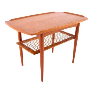 Poul Jensen for Selig Danish Mid Century Teak and Cane Side Table For Sale