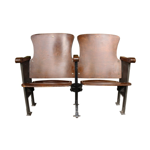 Salvaged Folding Wood Theater Chairs - Pair - Image 1 of 5