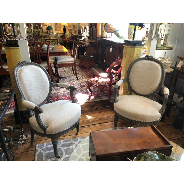 1940s Vintage Grey Painted French Fauteuil Chairs- A Pair For Sale - Image 9 of 13