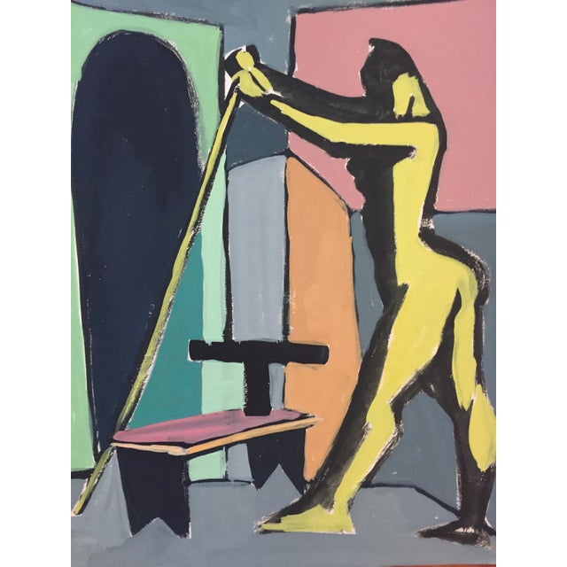 """1950s 1940-50s Bay Area Figurative Movement Painting """"Stick"""" For Sale - Image 5 of 5"""