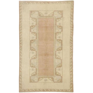 Turkish Soft Colored Oushak Area Rug - 3′10″ × 6′6″ For Sale